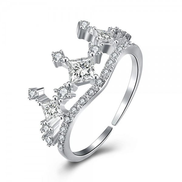 S925 Sterling Silver Open Ring Fashion Crown Diamond Ring