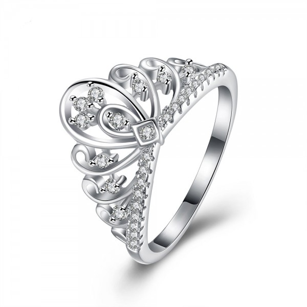 Stylish S925 Sterling Silver Ring Crown Diamond Ring