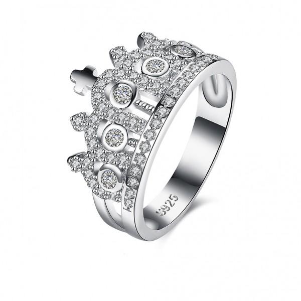 S925 Silver Ring Fashion Retro Crown Diamond Ring