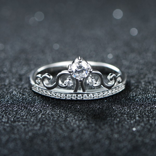 S925 Sterling Silver Ring Queen Crown Diamond Ring Proposal Ring