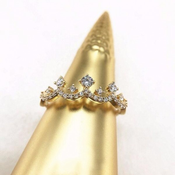 Full Hand-Made Gorgeous Retro Sterling Silver Plated 14K Gold Crown Cz Ring