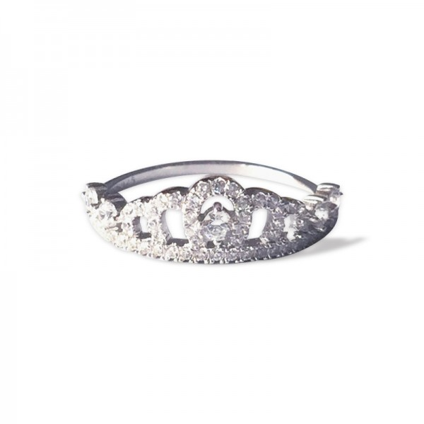 925 Silver Diamond Rhinestone Crown Ring