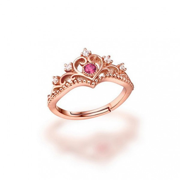Cute Elegant Princess Crown 925 Silver Rose Gold Plated Tourmaline Open Ring