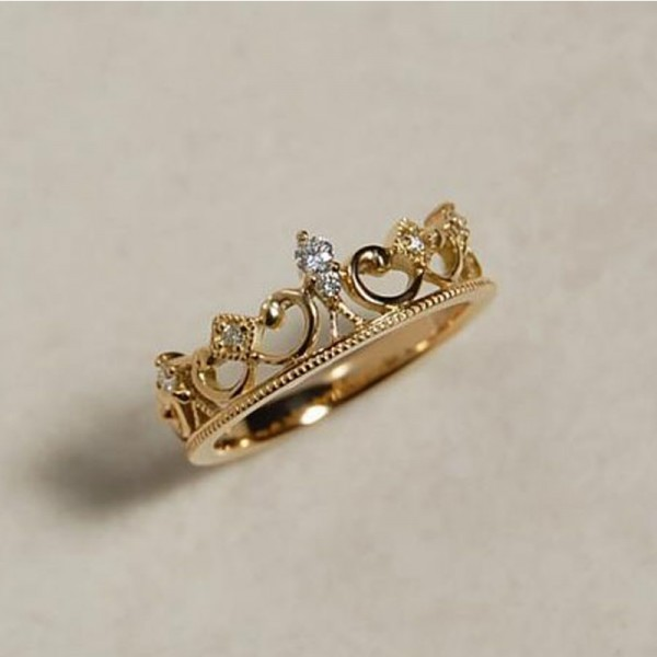 S925 Sterling Silver Baroque Princess Crown Retro Ring