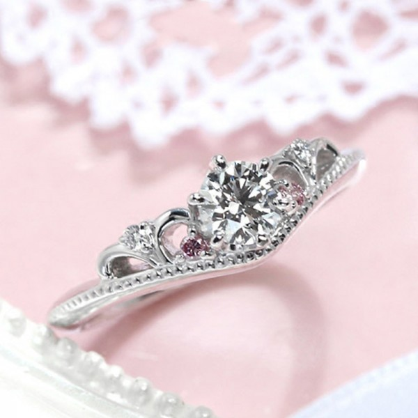 Princess Crown Silver Diamond Engagement Ring
