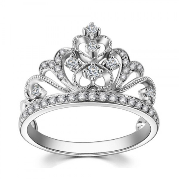 S925 Sterling Silver Vintage Princess Crown Rings 18K White Gold Plated Diamond Heart-Shaped Wedding Rings