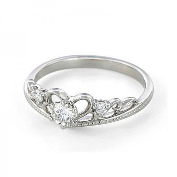 Baroque Princess Crown Diamond Ring 925 Silver 18K Gold Plated Wedding Ring