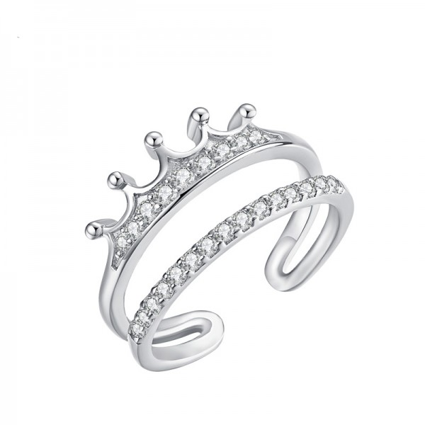 Sterling Silver Personality Open Crown Ring