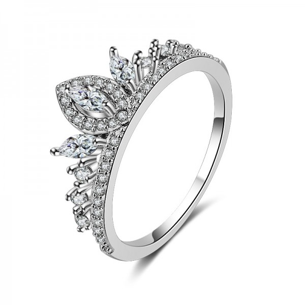 S925 Silver Crown And Diamond Ring