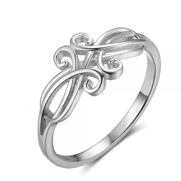 S925 Silver Fashion Light Surface Plating Rhodium Ring