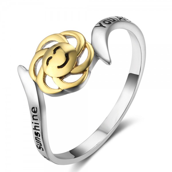 Sterling Silver Gold Plated Sun Smile Sliver Rings