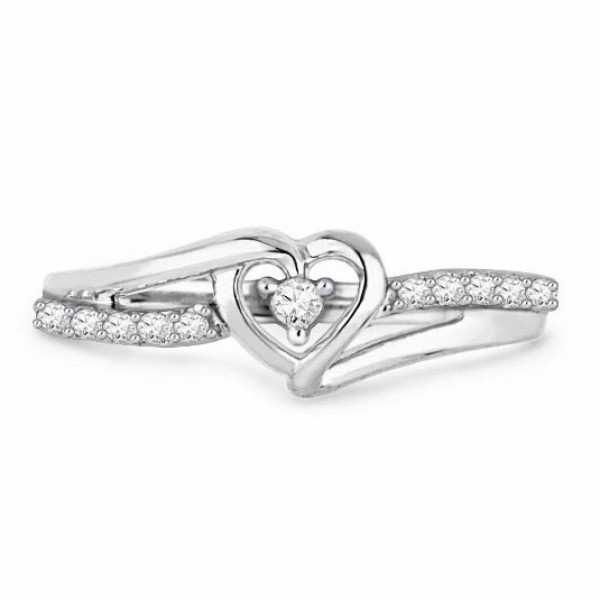 Sterling Silver Gold Plated Round Cubic Zirconia White Sapphire Sliver Rings