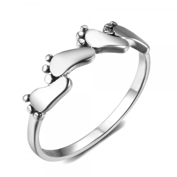 Sterling Silver Gold Plated Little Feet Sliver Rings