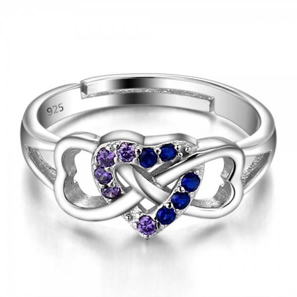 Sterling Silver Gold Plated Round Cubic Zirconia Sapphire Amethyst Sliver Open Rings