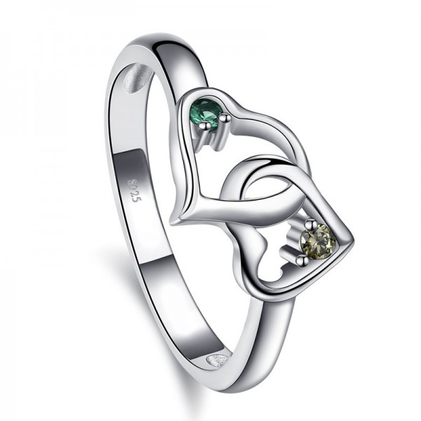 Sterling Silver Gold Plated Round Cubic Zirconia Emerald Champagne Sliver Rings