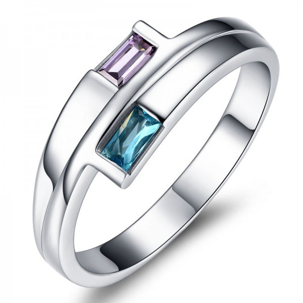 Sterling Silver Gold Plated Emerald Cubic Zirconia Aquamarine Amethyst Sliver Rings