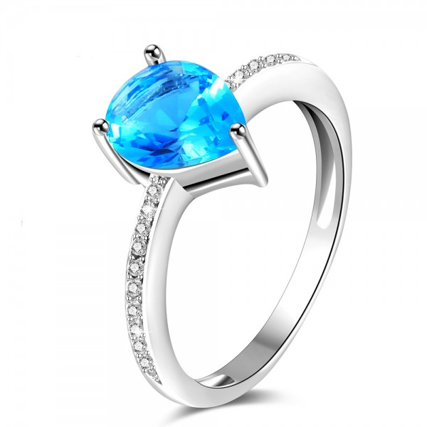 Sterling Silver Gold Plated Pear Cubic Zirconia Aquamarine Sliver Rings