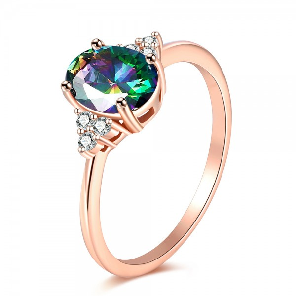 Sterling Silver Gold Plated Oval Cubic Zirconia Rainbow Topaz Gold Rings