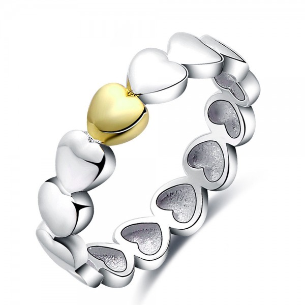Sterling Silver Gold Plated Double Color Hearts Sliver Rings