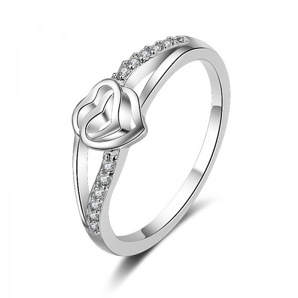 Simple Sterling Silver Gold Plated Round Cubic Zirconia White Sapphire Sliver Heart Rings