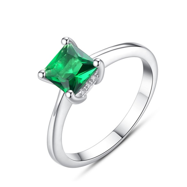 Sterling Silver Gold Plated Princess Cubic Zirconia Emerald Sliver Rings