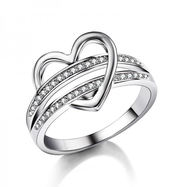 Simple Sterling Silver Gold Plated Round Cubic Zirconia White Sapphire Sliver Rings