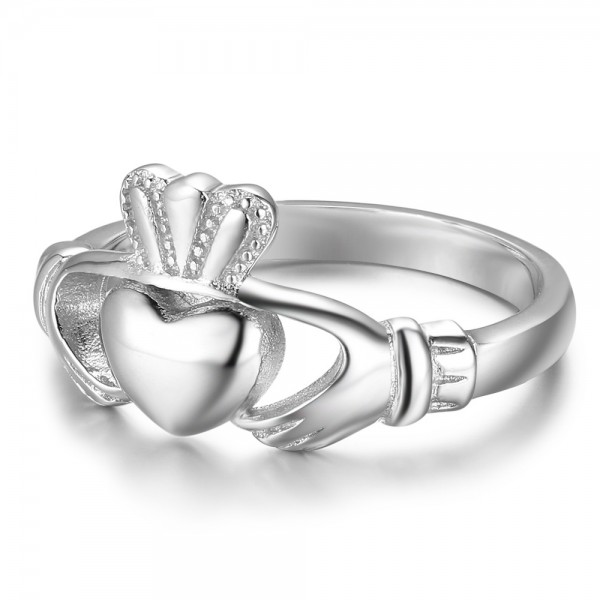 New S925 Sterling Silver Womens Heart With Hands Ring