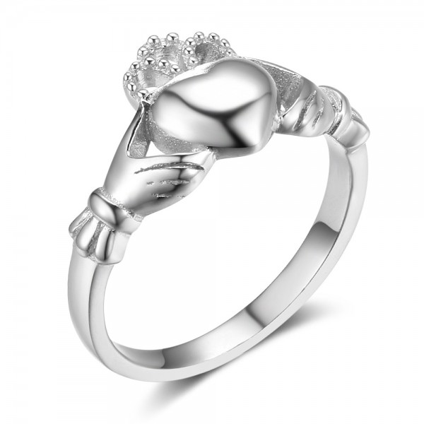 European S925 Sterling Silver Hollowed Crown And Heart Ring