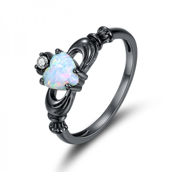 Fashion Black Titanium Steel Aquamarine Heart Ring