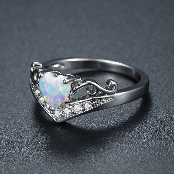 Hot Seller Heart Style Titanium Steel Aquamarine Ring