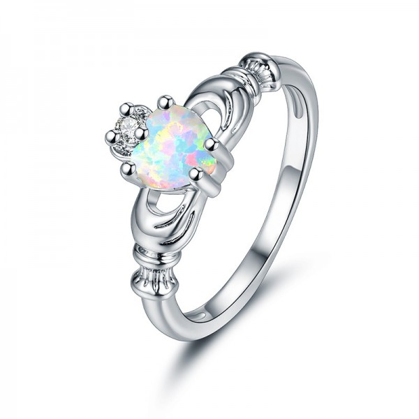 Sliver Plated Titanium Beautiful Heart Cubic Zirconia Ring