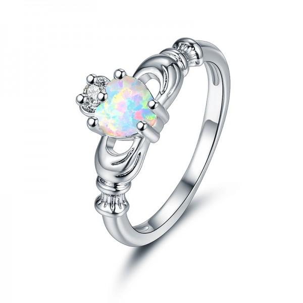 Sliver Plated Titanium Beautiful Heart Cubic Zirconia Ring