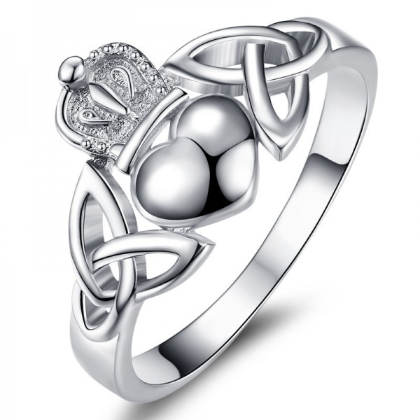 S925 Sterling Silver Females Heart And Crown Ring