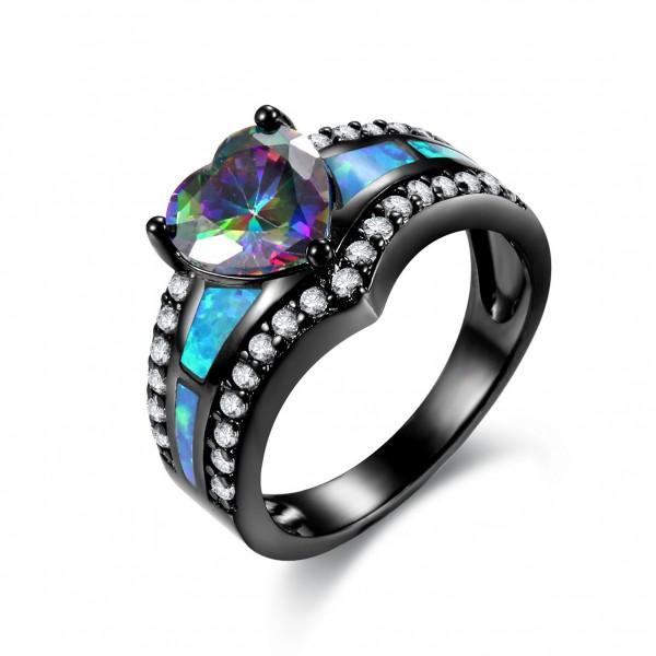 Black Titanium Steel Shinning Heart Love Ring