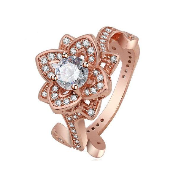 Rose Gold Plating S925 Sterling Silver Stereoscopic Flower Cz Rings