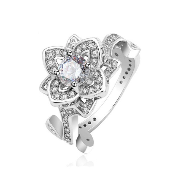 Gold Plating S925 Sterling Silver Stereoscopic Flower Rings