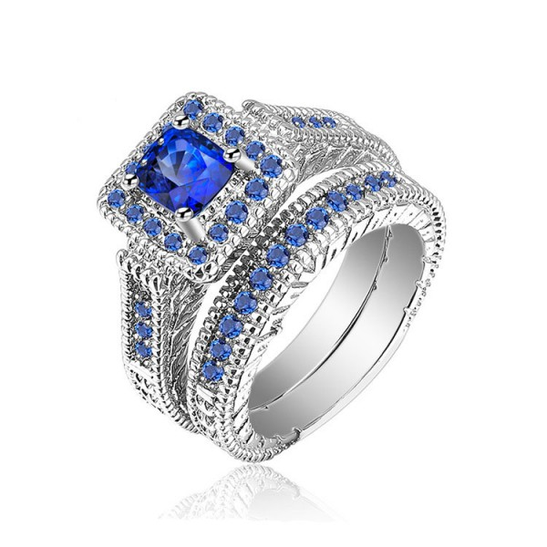 Blue Cubic Ziroconia S925 Sterling Silver Wedding Sets