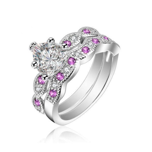 S925 Sterling Silver Heart Cut White And Pink Cubic Ziroconia Rings Wedding Promise Sets