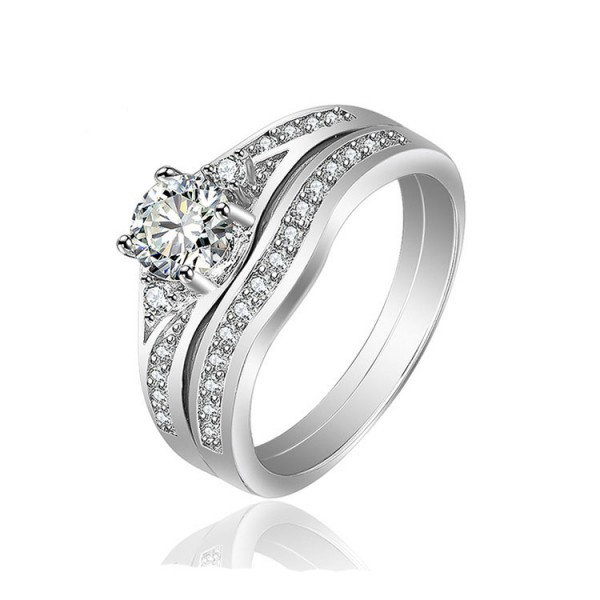 S925 Sterling Silver Round White White Sapphire Cz Engagement Wedding Rings