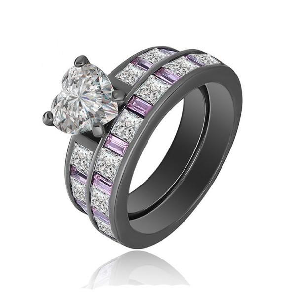 Heart Shaped S925 Sterling Silver Black Pomise Rings