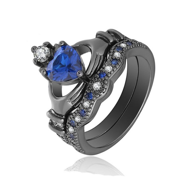 Heart Shaped S925 Sterling Silver Blue Cz Pomise Rings