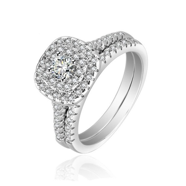 S925 Sterling Silver Round Cubic Zirconia Promise Engagement Rings