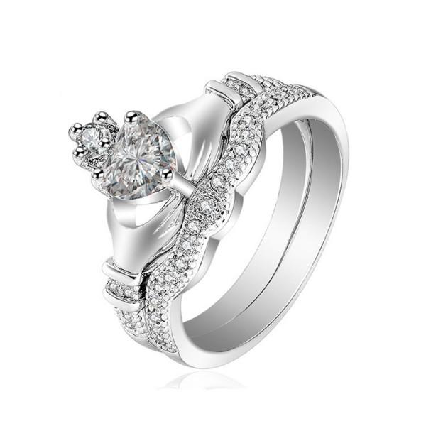 S925 Heart Cut Created Emerald Claddagh Ring Set