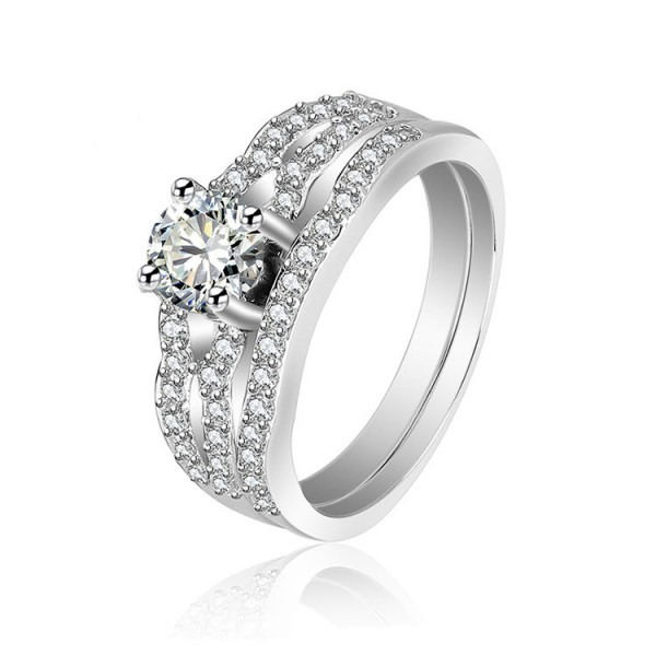 S925 S925 Sterling Silver Cubic Zirconia Wedding Rings Sets