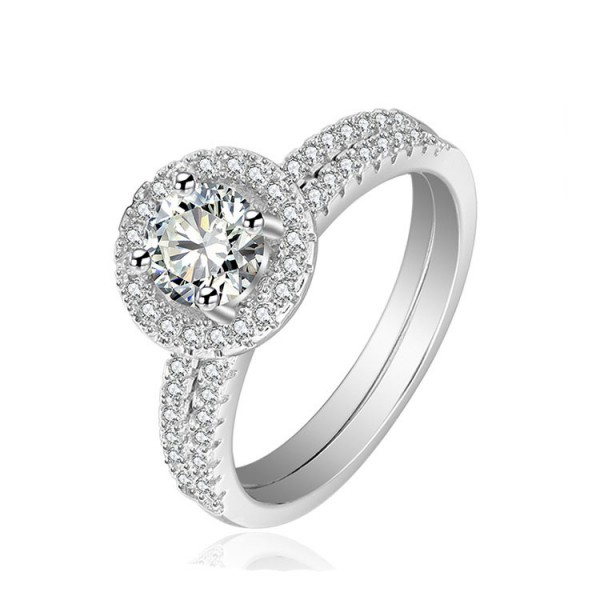 Classic S925 Round White Cubic Zirconia Engagement Rings