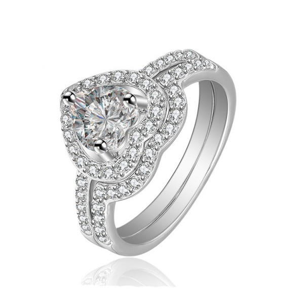 S925 Sterling Silver Platinum Plating Cubic Zirconia Rings