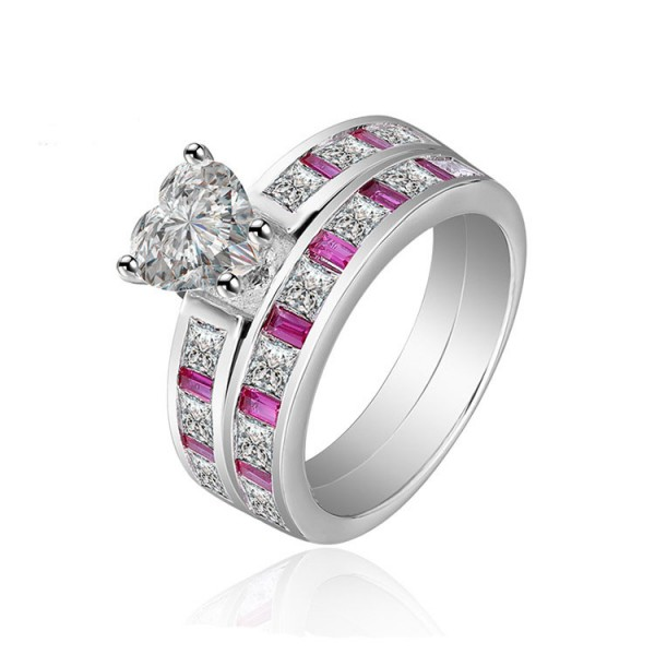 Heart Shaped S925 Sterling Silver White Cz Wedding Rings Sets