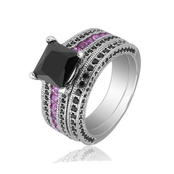 S925 Black Gold Plating Princess Cut Ring