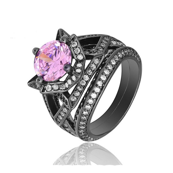 S925 Sterling Silver Black Gold Plating Pink Cubic Zirconia Ring