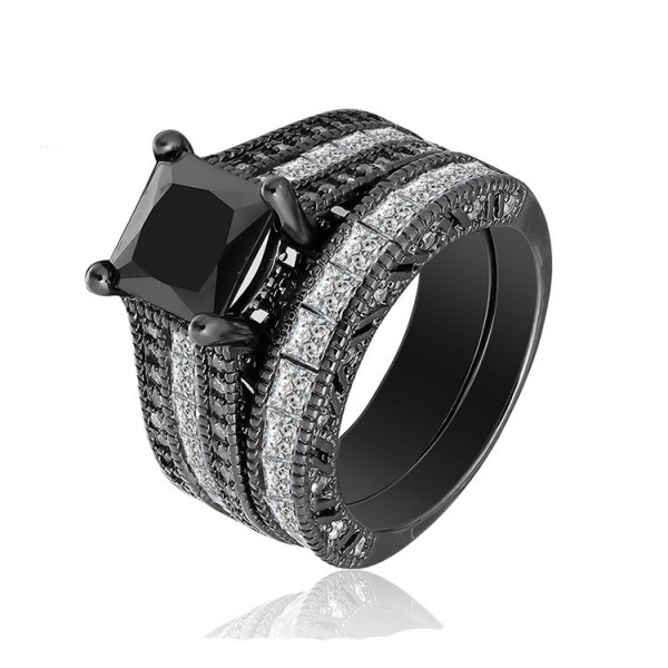 S925 Black Cubic Zirconia Promise Wedding Rings Sets